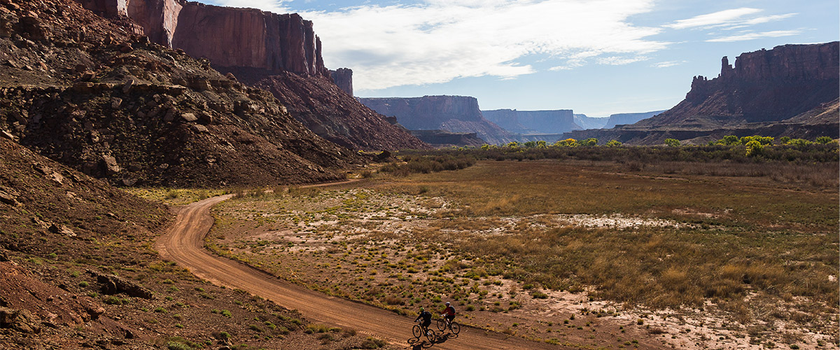 Riders traveling through Canyonlands