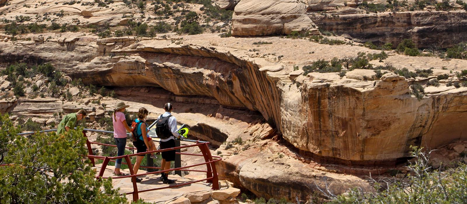 People hiking in Utah in the Bears Ears.