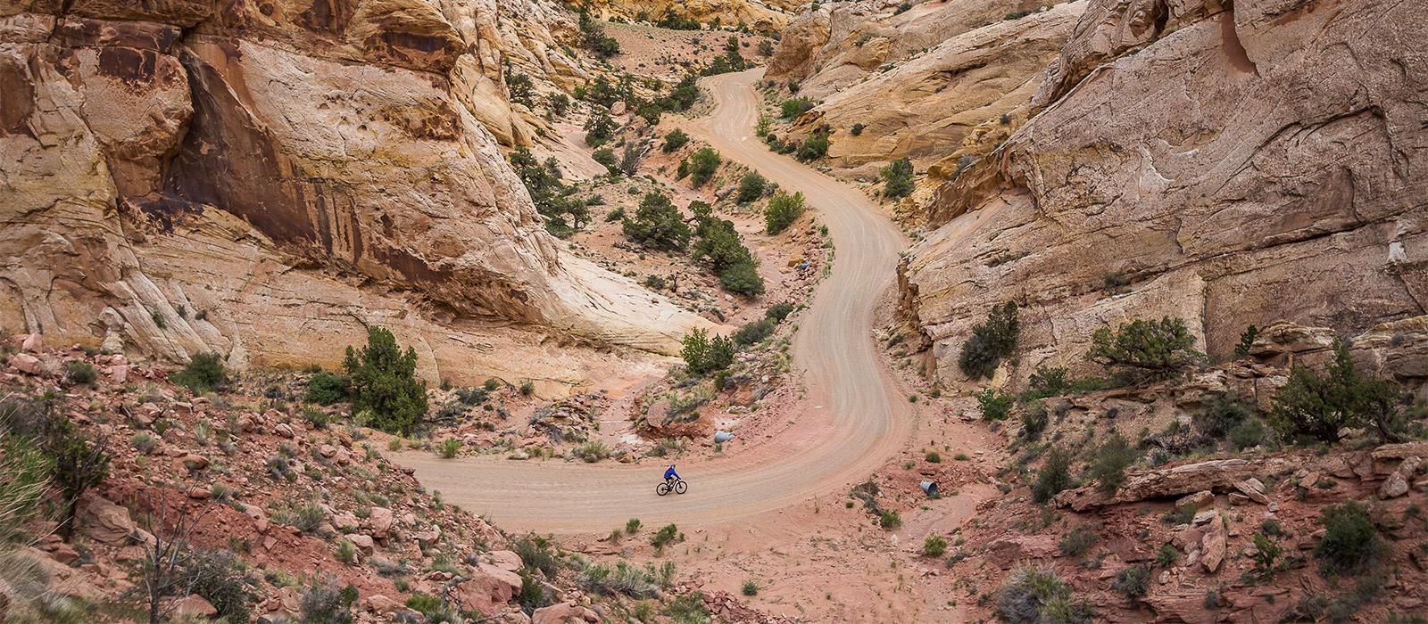 Gravel rider in the desert.